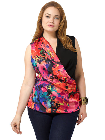 Abida Wrap Tank In Colorful Print
