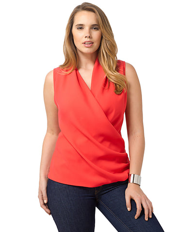 Abida Wrap Tank In Poppy Red