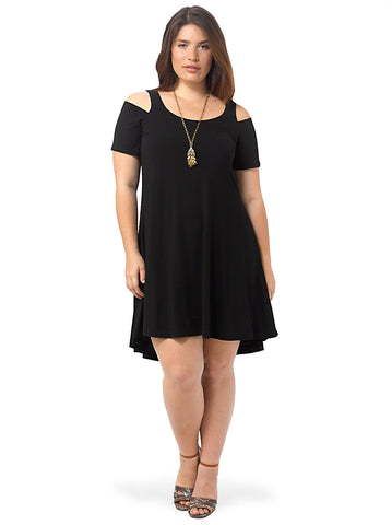Nadine Cold Shoulder Dress In Black