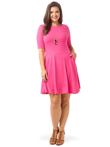 Half Sleeve Boatneck Dress In Cabaret Pink