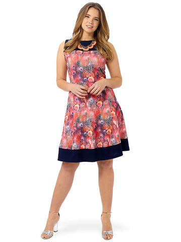 Rose Peacock Fit & Flare Dress