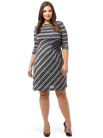 Ruched Stripe Dress