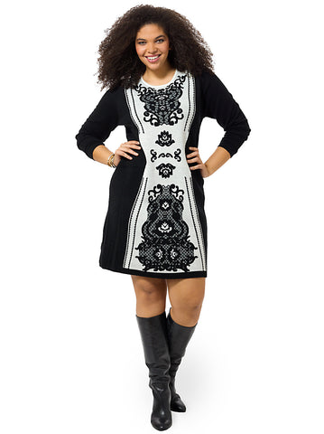 Jacquard Colorblock Shift Dress In Black & Ivory