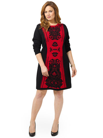Jacquard Colorblock Shift Dress In Black & Red