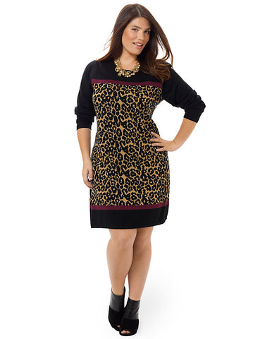 Animal Print Shift Dress In Black & Camel
