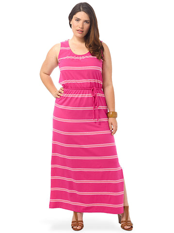 Cactus Flower Stripe Maxi Dress