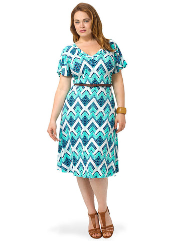 Ilene Dress In Water Chevron