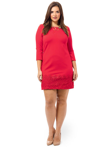 Scarlet Ponte Dress With Lace Hem