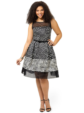 Polka Dot Fit & Flare Dress With Stripes