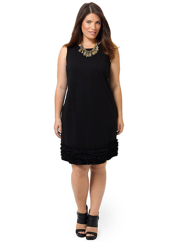 Ponte Dress with Ruffled Hem in Black