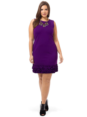 Ponte Dress With Ruffled Hem In Purple