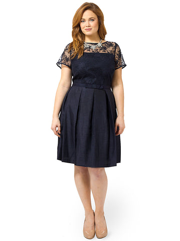 Lace Yoke Belted Dress