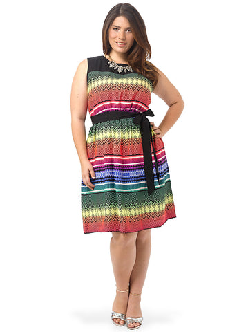 Rainbow Chevron Fit & Flare Dress