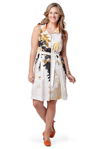 Sleeveless Printed Belted Shirtdress