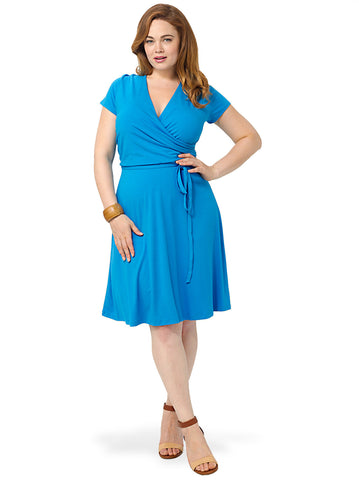 Surplice Dress In Bright Blue