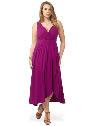 Fuchsia Plum Fit & Flare Maxi Dress