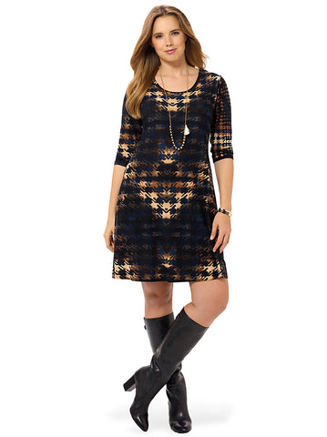 Printed Houndstooth Dress