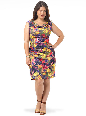 Bright Floral Cowl Ruched Dress