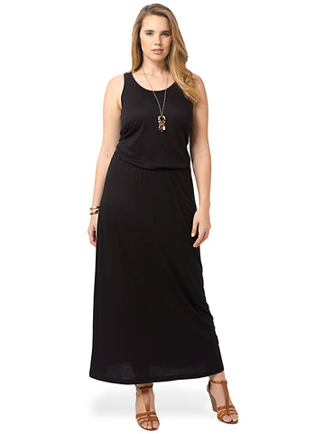 Black Sleeveless Jersey Maxi Dress