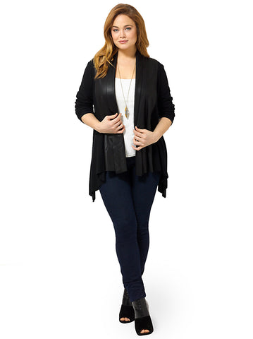 Faux Leather Collar Cardigan