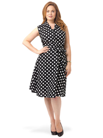 Polka Dot Dress With Collar In Black