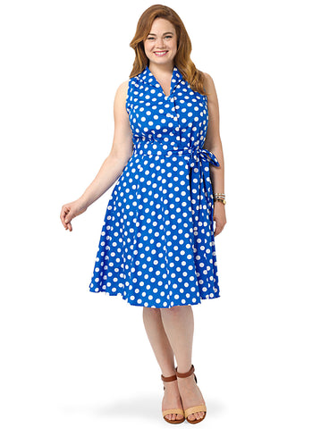 Polka Dot Dress With Collar In Blue