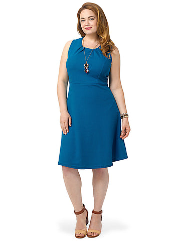 Textured Shift Dress In Teal