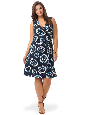 Celestial Blue Rose Surplice Dress