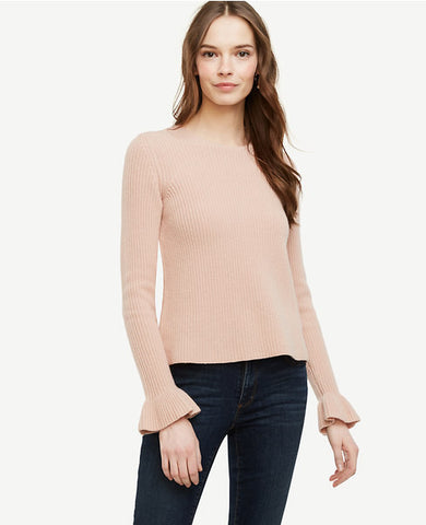 Ruffle Cuff Wool Cashmere Sweater