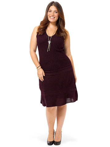 Yuma Sweater Dress In Aubergine