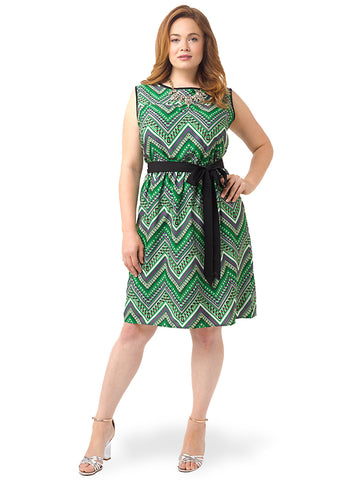 Graphic Green Fit & Flare Dress