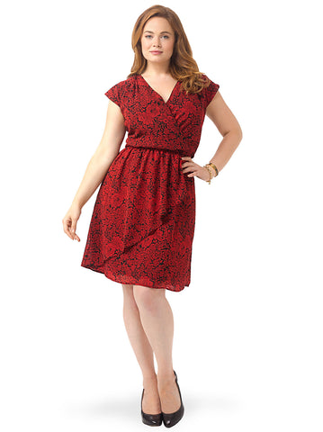 Red Floral Cascade Dress