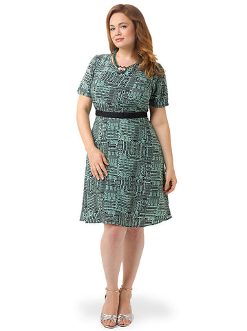 Tribal Print Fit & Flare Dress In Mint