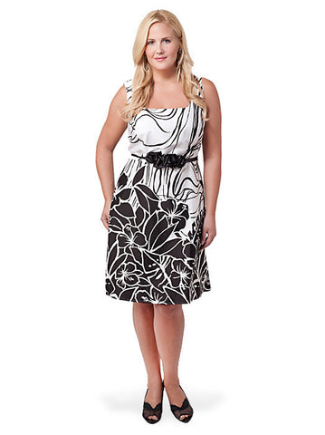 Sleeveless Printed Belted A-Line Dress
