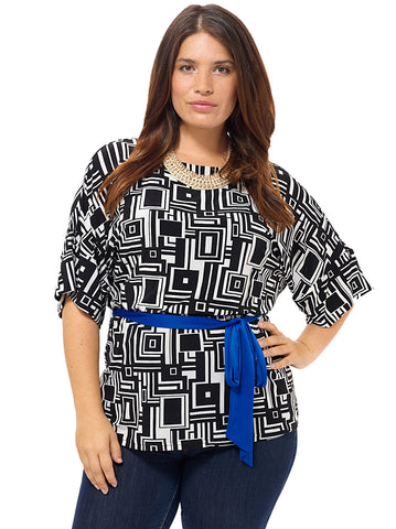 Geometric Print Blouson Top