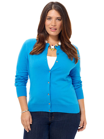Long Sleeve Cardigan In Washed Cyan