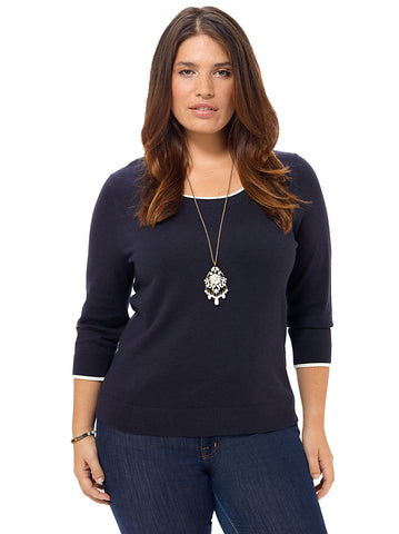 3/4-Sleeve Sweater In Navy & White