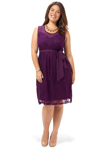 Loretta Lace Dress In Plum