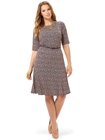 Beige Belted Dress With Eggplant Print