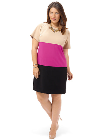 Short Sleeve Colorblock Sheath Dress