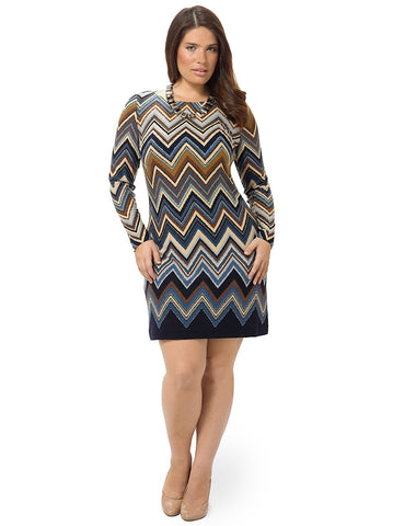 Long Sleeve Chevron Print Shift Dress
