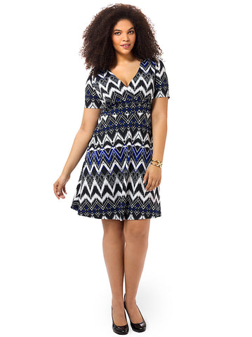 Work The Angle Dress In Geometric Chevron Print