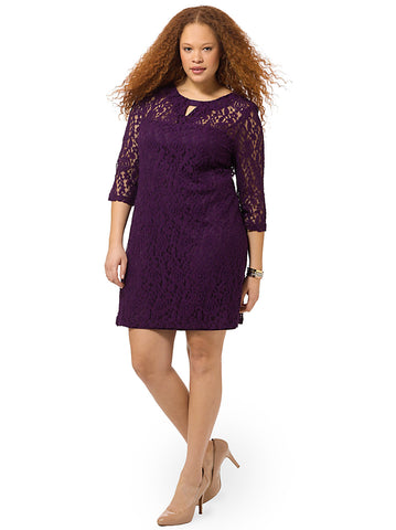 Lace Dress In Purple With Keyhole Neckline