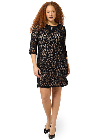 Lace Dress In Black & Nude With Keyhole Neckline