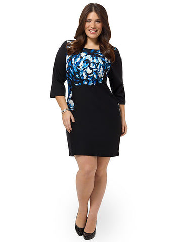 Shift Dress With Brushstroke Print