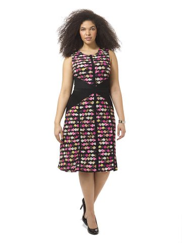 Printed Sleeveless Dress With Side Panels