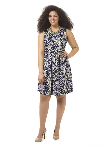 Leaf Printed Fit & Flare Scuba Dress