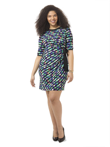 Circle Print Dress With Side-Tie