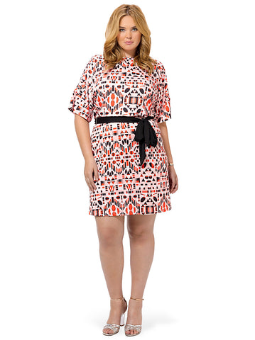 Abstract Geo Print Blouson Dress