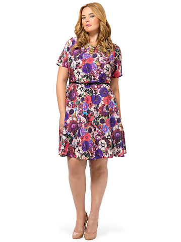 Baroque Floral Fit And Flare Dress
